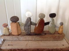 Beach stone art Driftwood sculptures by MossBetweenMyToes on Etsy
