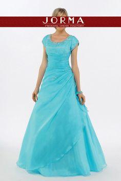 Blue Jewel Modest Prom Dress PD0898