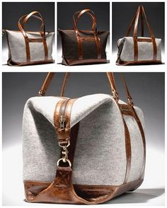 leather and grey felt bag a very interesting form is made between the two fixing styles Duffel Bag, Tote Bag, Felt Purse, Fabric Bags, Beautiful Bags, Gorgeous Gorgeous, Leather Craft, Leather Bags, Brown Leather