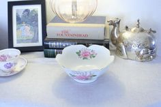 Porcelain Candy Dish with Pink Flowers and Gold by NikkiRyann, $9.00