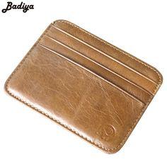 Famous Design Men Women's Genuine Leather Patchwork Credit Card Holder Ultra Thin Ladies Female Card Holder