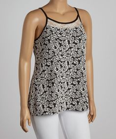 Another great find on #zulily! Black Floral Lace Camisole - Plus #zulilyfinds