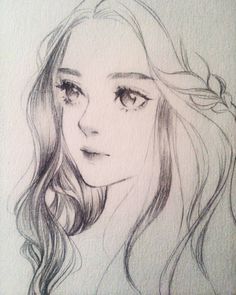 Drawing Pencil Portraits - I wouldnt be surprised if she blinked. Discover The Secrets Of Drawing Realistic Pencil Portraits Anime Drawings Sketches, Pencil Art Drawings, Anime Sketch, Cute Drawings, Drawing Faces, Drawing Hair, Female Face Drawing, Horse Drawings, Portrait Au Crayon