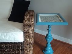 A new side table - re-purposed old lamp base plus old picture frame  #DIY #craft #reuse  #recycle #repurpose #furniture