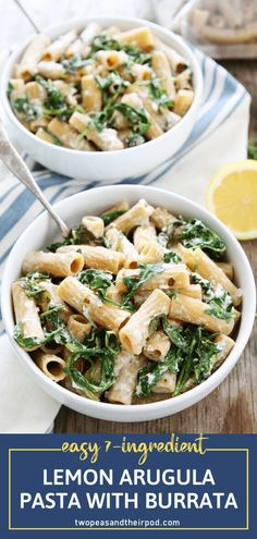 Whip up a special dinner in just 30 minutes! Lemon Arugula Pasta with Burrata is a winner. With only 7 ingredients, you can make a simple and flavorful pasta dish with a creamy and cheesy sauce. Perfect for easy entertaining or a quick meal on busy weeknights! Veggie Recipes, Wine Recipes, Pasta Recipes, Vegetarian Recipes, Healthy Recipes, Healthy Dishes, Healthy Eating, Weeknight Meals, Quick Meals