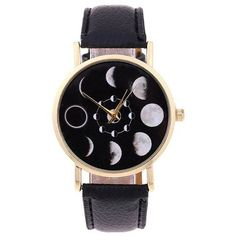Faux Leather Lunar Eclipse Quartz Watch (120 THB) ❤ liked on Polyvore featuring jewelry, watches, accessories, faux leather watches, quartz jewelry, quartz wrist watch, vegan watches and vegan jewelry