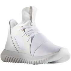 Adidas Women's Tubular Defiant Round Toe Slip-On Sneakers (¥9,360) ❤ liked on Polyvore featuring shoes, sneakers, white, leather slip on shoes, white trainers, leather sneakers, white leather sneakers and white slip on shoes