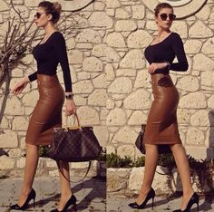 Preself Women's Fashion Sexy PU Leather Mini Bandage Pencil Skirt with High-Waist and Zipper Plus Size We would so love to wear these! Classy Outfits, Sexy Outfits, Chic Outfits, Fall Outfits, Fashion Outfits, Womens Fashion, Fashion Trends, Fashion Inspiration, Fashion Skirts
