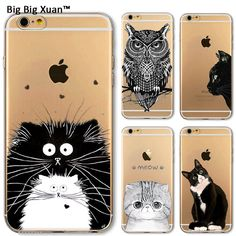 Case For iPhone 4 4s 5 5c 5s SE 6Plus 6 6s Plus New Arrival Soft TPU Protective Cases Clear Cat Animals Cover