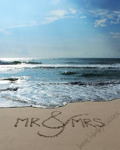 Mr. & Mrs. Sand Writing Beach Wedding Gift by BeachBabyKisses, $10.00