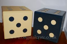 A pair of dice storage crates. 2 ft square, on wheels, hinged lid with storage tray inserts. Great for games room, cinema room, toy box or unusual side table. Feeling lucky?  By Original Crate Furniture - www.originalcrate.co.uk #dice #storage #table #originalcrate #originalcratefurniture