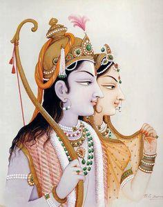 Rama and Sita. Hindu God and Goddess. Avatars of Vishnu and Laxshmi. Hinduism.
