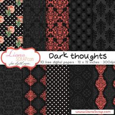 Free digital paper pack – Dark Thoughts Set - http://www.lianascrap.com/free-digital-paper-pack-dark-thoughts-set/