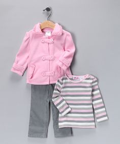 Another great find on #zulily! Young Hearts Rosy Petal Fleece Jacket Set - Infant by Young Hearts #zulilyfinds