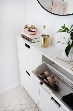 shoe storage cabinet in hallway with round mirror and area rug Dark Hallway, Hallway Ideas Entrance Narrow, Entryway Mirror, Hallway Paint, Hallway Shoe Storage, Shoe Storage Cabinet, Storage Cabinets, Hemnes Shoe Cabinet, Small Hallways