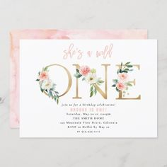 1st Birthday Invitations Girl, Pink Invitations, 1st Birthday Girls, Floral Invitation, First Birthday Parties, Shower Invitations, Custom Invitations, First Birthdays, Invite