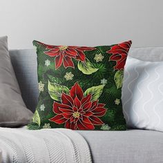 Green Christmas, Christmas Items, Floral Throw Pillows, Decorative Pillows, Floral Throws, Cotton Pillow, Holiday Outfits, Red Green, Decorating Your Home