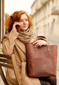 Leather shoulder tote bag genuine leather shoulder by DingoM
