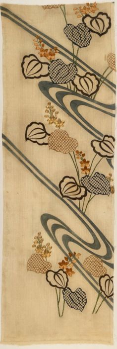 """Fragment of a Kimono with Design of Flowing Water and Pickerel Weed (Mizu aoi). The kimono is a Japanese traditional garment. The word """"kimono"""", which literally means a """"thing to wear"""" has come to denote these full-length robes."""