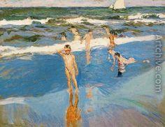 Children at sea. Beach of Valencia - Joaquin Sorolla y Bastida