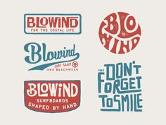 Design for Blowind Surfboards by Rise Wise Vintage Graphic Design, Graphic Design Illustration, Graphic Design Inspiration, Design Ideas, Typography Letters, Typography Logo, Hand Lettering, Logos, Surfboard Brands
