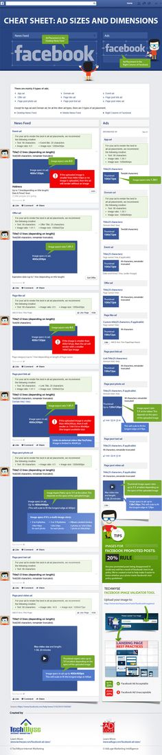 Facebook Ad Specifications and Dimensions a visual aid for those looking for info on placement, size and other aspects of Facebook advertising. #facebook