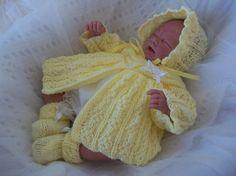 Baby Knitting Patterns- PDF Knitting Pattern - Preemie Baby Girls or Reborn Dolls Clothes Knitting Pattern Precious Newborn Knits Baby Knitting Patterns, Pattern Baby, Baby Patterns, Hand Knitting, Double Knitting, Knitting Yarn, Preemie Babies, Premature Baby, Reborn Babies