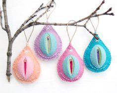 hand sewn felt vagina ornament