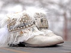upcycled reworked cowboy boots wedding boots from TheLookFactory on Etsy