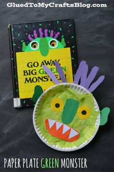 Go AWAY Big Green Monster - Paper Plate Green Monster – Kid Craft. Cute idea for Halloween speech therapy! Go AWAY Big Green Monster - Paper Plate Green Monster – Kid Craft. Cute idea for Halloween speech therapy! Monster Activities, Monster Crafts, Art Activities, Paper Plate Art, Paper Plate Crafts, Paper Plates, Preschool Projects, Classroom Crafts, Preschool Art
