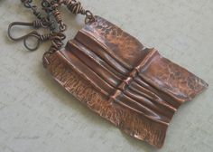 Copper Tribal Pendant Fold Formed with Hand by JenniZJewelZ
