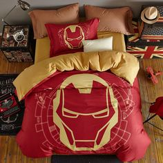 Cotton disney bed set printed iron man duvet cover single twin full queen size comforter marvel bed sheet kids boys home textile Gold Bedding Sets, Gold Comforter, Mens Bedding Sets, Disney Bedding, Cheap Bedding Sets, Cotton Bedding Sets, Duvet Bedding Sets, Bedding Sets Online, Queen Bedding