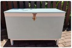 I repaired chips and gouges in this old hope chest, premiered , applied Rust Oleum Serenity Blue Chalkpaint, painted bands with Tjhoko Da'Vid and reused the old hardware - cleaned and buffed. Paint Effects, Hope Chest, Chalk Paint, Reuse, Serenity, Old Things, Bands, Chips, How To Apply