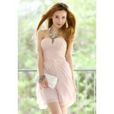 $16.51 Light Pink Little V-Neck Homecoming Semi Formal Dress Strapless Chiffon Dress