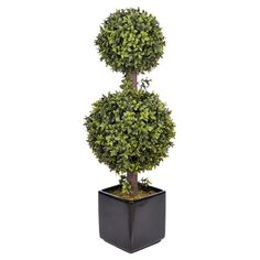 Faux boxwood double ball topiary on Joss & Main, 27 inches tall, $47.95.  Bring organic elegance to your decor with this lovely boxwood topiary, showcasing a double ball silhouette and square ceramic planter.