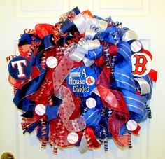 Deco mesh sports wreath / A house divided by Southernbornnblessed, $58.00
