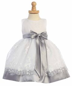 60e30e69a56 Girls Dress Style M558 - Embroidered Organza Dress with Taffeta Waistband  and B. Flower Girl DressesFlower ...