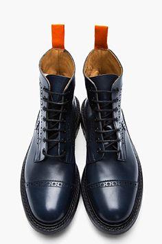 JUNYA WATANABE Navy Leather Steer Quarter Brogue Super Boots