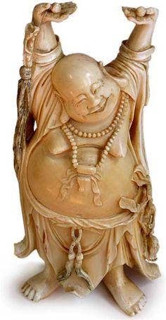 Large Antique Chinese Ivory Happy Buddha