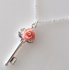 Silver Skeleton Key Necklace, Key Pendant, Peach Pink Rose Flower Jewelry, Romantic Necklace, Bridesmaid Jewelry kriyadesign on etsy $19