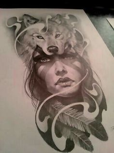 Indian woman face with wolf tattoo design …