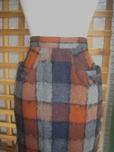 40s 50s PLAID WOOL Straight Skirt With POCKETS 1950s by Flipsville, $35.00