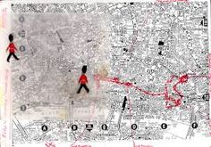 Francis Alÿs, 'The Guards', 2005 Maps routes around London. Large group of guards reunited with solo guard. Planed routes, interesting in how you interact with environment. Therefore time based Girl Scout Uniform, A Level Art Sketchbook, Fantasy Baseball, Jasper Johns, National Portrait Gallery, Gcse Art, Mixed Media Collage, Land Art, Box Art