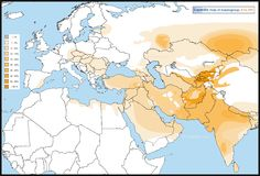 Distribution of haplogroup R1a-Z93 in Europe, the Middle East, South Asia and Central Asia