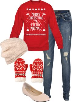 """""""Merry Christmas ya filthy animal!!"""" by boonesara on Polyvore"""