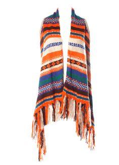 DejaVu Striped Sweater Shawl with Fringe