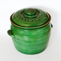 LARGE POT FOR STUFFED CABBAGE (GREEN GLAZED) - To sum it up the Claypot is easy to use, lasts long, and simply indispensable. We think that it's pointless to praise this excellent vessel since it praises itself and the right choice of the customer who buys it. Large Pots, Terracotta Pots, Clay Pots, Compost, Cookware, Glaze, Cabbage, Easy, Green