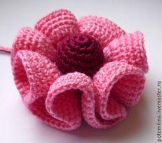 Больше всего вопросов поступает, как я вяжу этот цветок. Для вязания потребуется: - нитки хлопок 100% 'Ирис' (или похожие по толщине другие нити); - крючок №1; - одна обвязанная крючком бусина (мной она подготовлена заранее); - бисер (если кто захочет обвязать край цветка бисером, как вариант, можно и нитками другого цвета — как темнее, так и светлее, в зависимости от того, какого эффект хотим получить в том или ином творческом замысле).