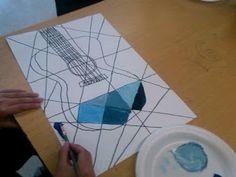 Erb's Art Page: Picasso Guitars, part 2 Pablo Picasso, Picasso Art, Picasso Blue Period, 8th Grade Art, School Art Projects, Middle School Art, Art Lesson Plans, Art Classroom, Art Plastique