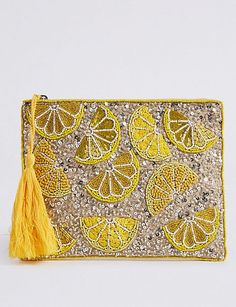 Marks and Spencer Embellished Zip Detail Clutch Purse Embellished Clutch Bags, Beaded Clutch, Beaded Bags, Embroidery Bags, Beaded Embroidery, Bag Women, Diy Handbag, Mellow Yellow, Handmade Bags